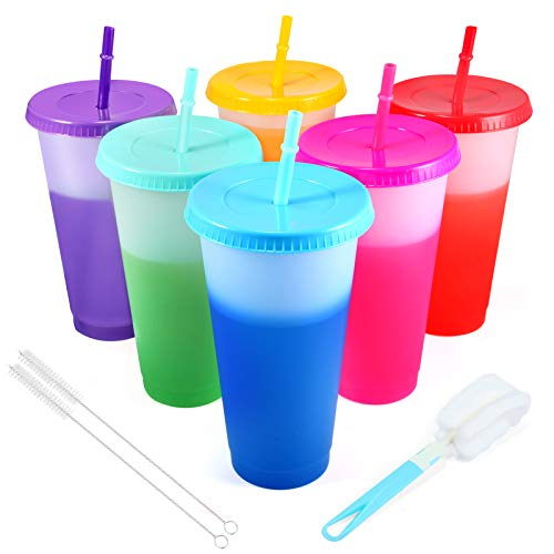 Color Changing Cups Tumblers with Lids Straws - 6 Pack 24oz Reusable Plastic Cold Water Tumblers Iced Coffee Cups for Adults Kids