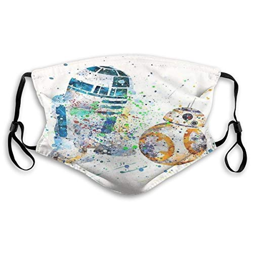 ANIUERLN BB-8 R2-D2 Face Mask with 2pcs Carbon Filters Face Protection Reusable Washable Fabric Bandanas Neck Gaiter Balaclavas for Men Women Adults Kids Children