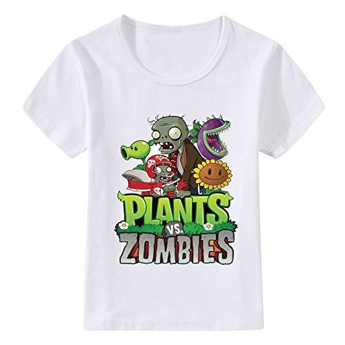 Plants vs. Zombies Camiseta Cómodas Camisetas de algodón Superior Cuello Redondo Ocio Impreso Manga Corta niñas (Color : White01, Size : 120)