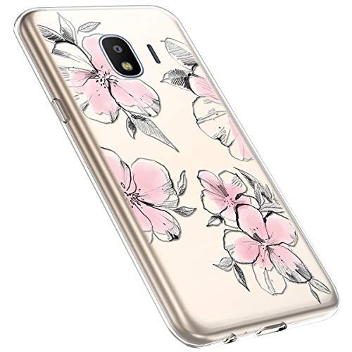 MoreChioce kompatibel mit Galaxy J2 Pro 2018 Hülle,Galaxy J2 Pro 2018 Handyhülle Blume,Ultra Dünn Transparent Silikon Schutzhülle Clear Crystal Rückschale Tasche Defender Bumper,Blumenzweig #28