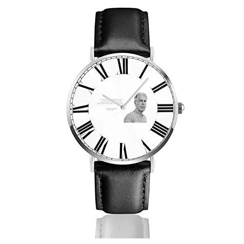 Reloj de Pulsera an-thony Bour-dain Durable PU Correa de Cuero Relojes de Negocios de Cuarzo Reloj de Pulsera Informal Unisex