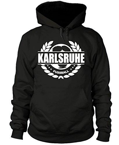 shirtloge - Karlsruhe - Fussball Lorbeerkranz - Fan-Kapuzenpullover - Schwarz - Größe M