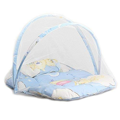 GOUPPER Draagbare Opvouwbare Baby Kinderbed Babywieg wieg wieg wieg Rits muggennettentje met slaapkussen inklapbaar (blauw)