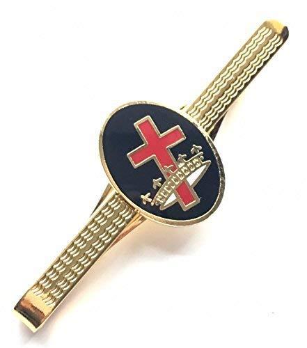 Geschenkbox Freimaurer Tempelritter Kreuz & Krone Emaille CRESTED Krawatte Slide (N349)
