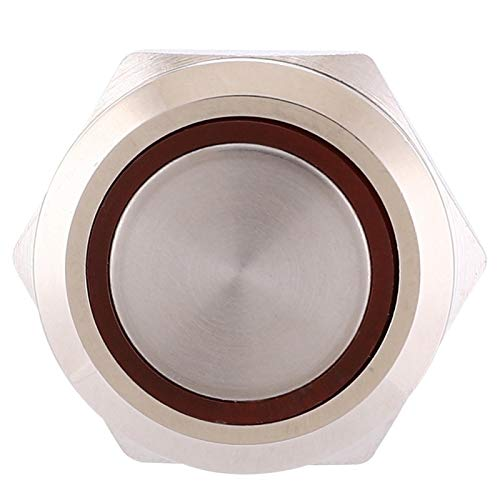 Okuyonic Botón de reinicio de Anillo 100% Nuevo Accesorios de Interruptor de botón pulsador de 22 mm IP65 DC12-24V con Nivel de protección Ip65(Red, Pisa Leaning Tower Type)
