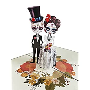 corpse couple, corpse bride and groom, funny wedding card, birthday card, halloween, valentine's day, day of the dead, dia de muertos (on flower) silk flower arrangements