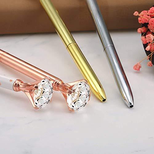 CLARA 8 Pcs Big Diamond Pens Rhinestone Crystal Metal Ballpoint Pen Black Ink Silver Photo #5