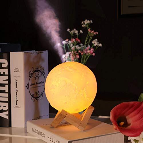 Umidificador de ar ultrassônico, difusor de aromas e luminária de mesa 880ml Lua USB e LED 3 cores