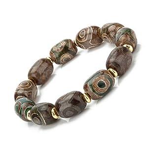 Prime Fengshui Schützendes ovales grünes tibetisches Dzi Perlen-Armband Amulett Armreif zieht positive Energie und Glück an.