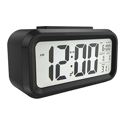 """Kosee 5,3\"""" LED Digitaluhr Wecker Beleuchtung Digitalwecker Reisewecker mit Datum und Temperatur Anzeige, Schlummertaste, Sensorlicht und Nachtlicht - Schwarz"""