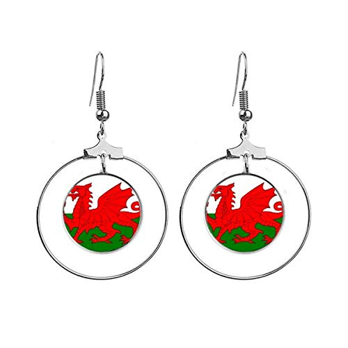Wales Nationale Vlag Europa Land Oorbellen Dangle Hoop Sieraden Drop Cirkel