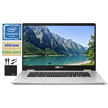 2021 Premium ASUS Chromebook Thin Student Business Laptop, 14″ HD Nano-Edge Display, Intel Celeron N3350 Processor (up to 2.4 GHz), 4GB Memory, 64GB eMMC, Wi-Fi, Webcam, Chrome OS + Marxsol Cables