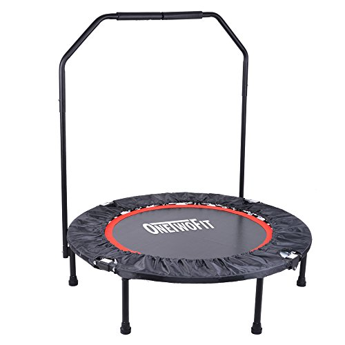 OneTwoFit 101 cm Trampolino Fitness Richiudibile Resistente & Sicuro con Copertura di Protezione e Appoggiamano OT017