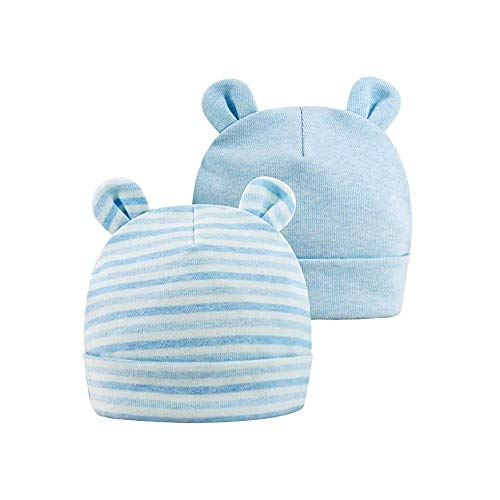 Bambino Beanie cappelli Neonato Bambino Beanie con le orecchie dell'orso Caps caldi per l'autunno inverno 0-6 mesi di neonata Boy, 2 pack