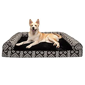 Furhaven Pet Dog Bed – Memory Foam Plush Kilim Southwest Home Decor Traditional Sofa-Style Living Room Couch Pet Bed with Removable Cover for Dogs and Cats, Black Medallion, Jumbo Plus