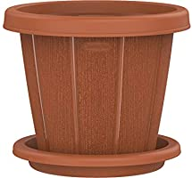 "Cosmoplast Plastic Cedargrain Flower Pot Round 10"" with Tray"