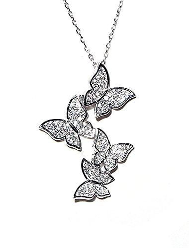 Colgante collar con mariposa chapado en oro de 18k Plata de ley con cristales Swarovski, blanco