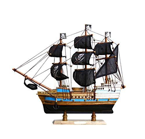 SCJ Barco Pirata de Madera Negra Modelo Personalidad Regalo Creativo simulación Escritorio decoración Sala de Estar Estudio Oficina artesanías Hechas a Mano