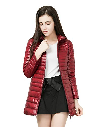 MISSMAOM_Fashion2019 Superleicht Daunenjacke Wintermantel Mantel Steppmantel Winter Jacke Mittellang Stepp Warm Hoodie/Stehkragen,Wine Red No Hoodie,M