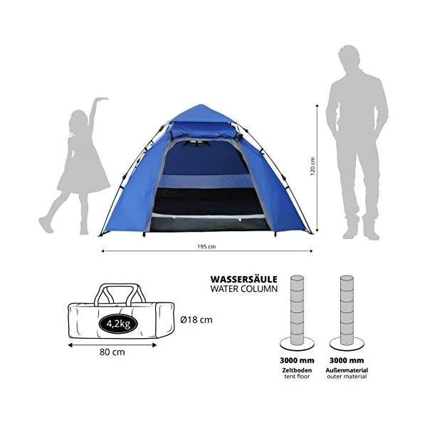 Lumaland Outdoor 3 Person Pop Up Tent 215 x 195 x 120 cm Lightweight Waterproof Taped Seams Quick Up System Festival…
