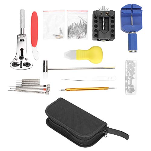 Watch Repair Kit,Watch Cover Back Case Opener Tool Kit with small tool bag,Professional Watch Repair Tools for Watch Bracelet Sizing