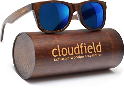 Wood Sunglasses Polarized for Men and Women - Wooden Frame Sunglasses - 100% UV Protection - Premium Quality - Bamboo Wooden Frame - Perfect Gift - Blue Lenses Sunnies