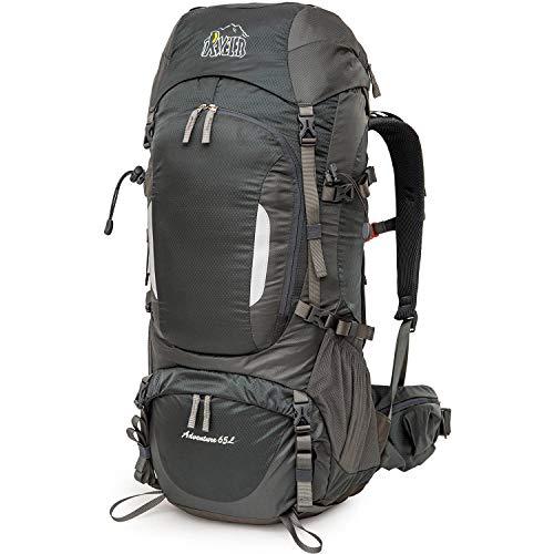 Aveler 65Liters/ 80Liters Unisex Lightweight Nylon Internal Frame Hiking Backpack with Integrated Rain Cover