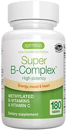 Super B-Complex - High Strength B Vitamins with folate, B6 & B12 Plus Vitamin C, 60 Tablets