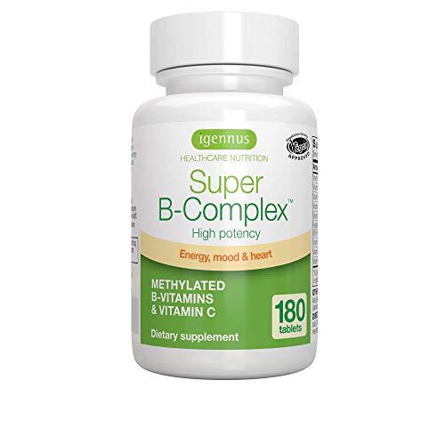 Super B-Complex - Complejo vitamínico B de alta concentración, con las 8 vitaminas B esenciales, metiladas y en forma bioactiva, incluso B6 & B12, además de vitamina C, vegan, 180 comprimidos