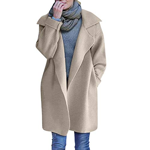 Mantel Kolylong Damen Elegant Revers Strickjacke Lang Herbst Winter Warm Gestrickt Mantel Leicht Windjacke mit Reverskragen Zweireiher Parka Outwear Trenchcoat Wollmantel Tops (One Size, Beige)