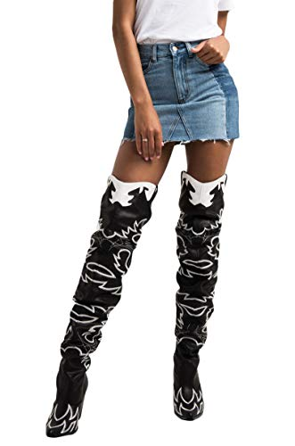 CAPE ROBBIN Sexy Thigh High Rihanna Kylie Country Western Heeled Cowboy Boots-BLACK_7.5