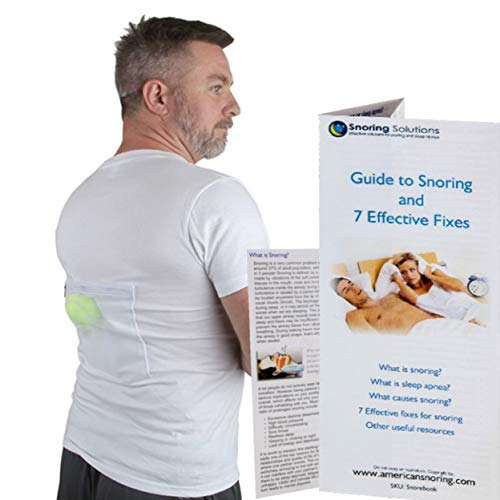 Stop Snoring T-Shirt - Most Comfortable Snoring Aid. Health Expert Recommended for Back Snorers! Eliminates Snoring by Adjusting Your Sleeping Position. Included: Guide to Snoring Ebook, White, M