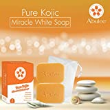ARBUTEE | Pure Kojic Acid Skin Brightening Whipp Soap for Glowing & Radiance Skin, Dark Spots, Rejuvenate, Uneven Skin Tone | Maximum Strength, NO SLS, NO Paraben, Cruelty Free(2 Bars, Pure Kojic+Mesh)