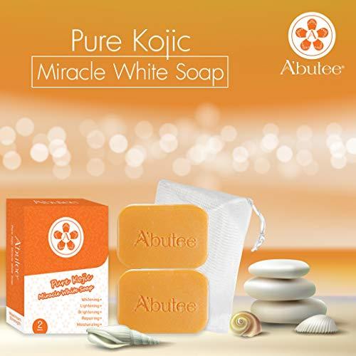 ARBUTEE | Pure Kojic Acid Skin Brightening Whipp Soap for Glowing & Radiance Skin, Dark Spots, Rejuvenate, Uneven Skin Tone | Maximum Strength, NO SLS, NO Paraben, Cruelty Free(2 Bars, Pure Kojic+Mesh)