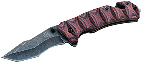 Puma Tec Couteau de Sauvetage en Acier AISI 420 avec Lame tantoblage Liner Lock, G10, Coupe-Verre, Coupe-Ceinture, Clip