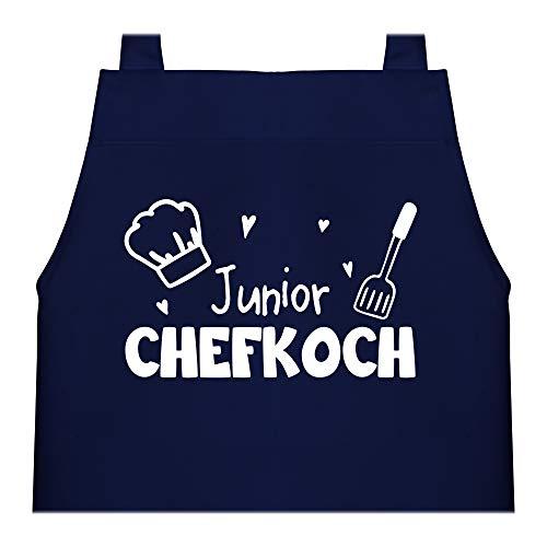 Shirtracer Kinderschürze mit Motiv - Junior Chefkoch - 60 cm x 50 cm (H x B) - Navy Blau - kinderschürze X978 - Kochschürze und Schürze für Kinder