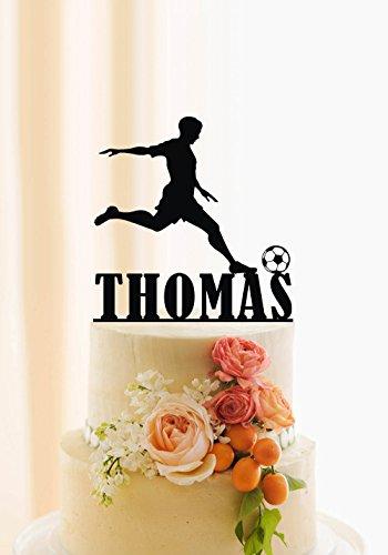 qidushop Decoración para tartas de fútbol con nombre personalizado para el futbolín, silueta de jugador de fútbol, regalo de cumpleaños para mujeres y hombres, decoración de fiesta de cumpleañ