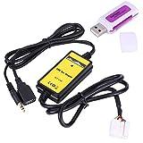 Akozon Adaptador de entrada auxiliar USB para automóvil Cable de reproductor de MP3 Interfaz de audio por radio Lector de tarjetas de adaptador de interfaz auxiliar para Accord Civic Odyss