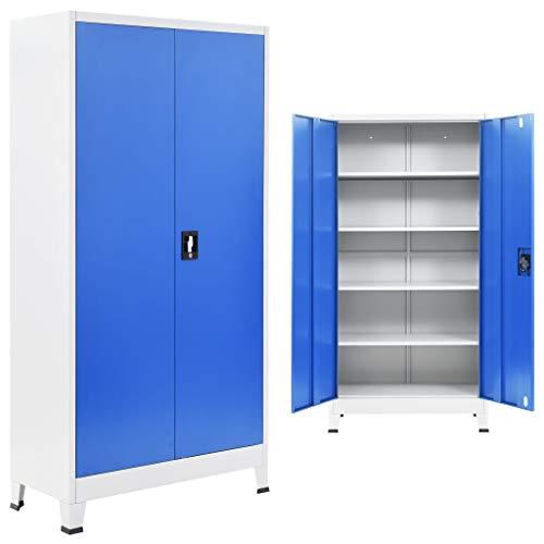 vidaXL Office Cabinet Metal 90x40x180cm Grey and Blue Locker Storage Organiser