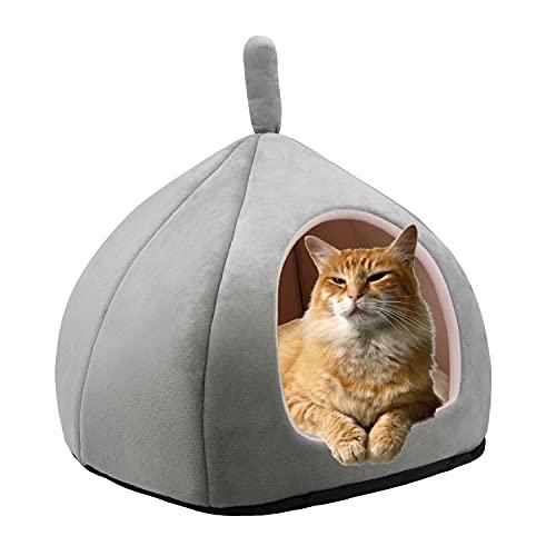 Dololoo Cama para mascotas para gatos, cojín de gato, nido, saco de dormir, casa cueva de gato, cama suave para gatito y mascotas pequeñas (gris claro, L)