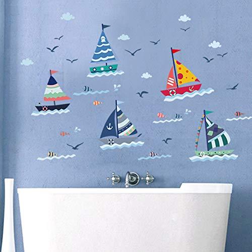 ZXFMT Hoogte sticker Nautische Boot Vis Wolken Muurstickers Voor Kinderen Kamers Toilet Koelkast Sticker Keuken Home Decor Muren Poster