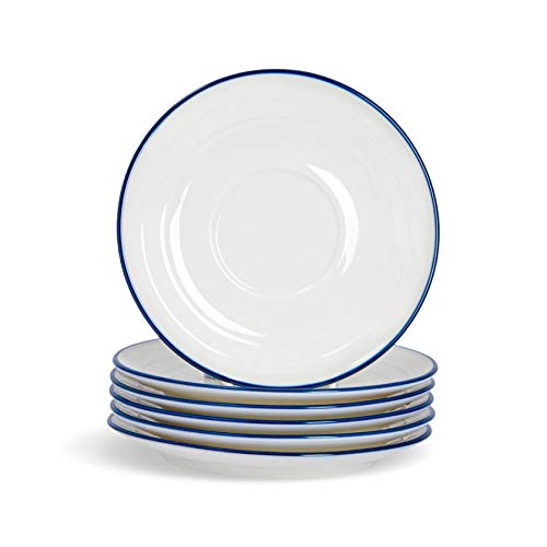 Nicola Spring sous-Tasses Farmhouse - pour Expresso - Blanc/Bleu - 13 cm (5\