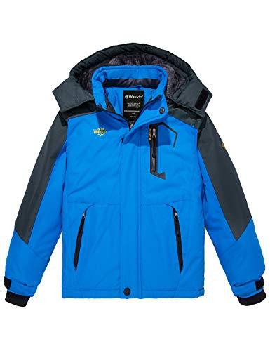 Wantdo Boy's Watertight Hooded Ski Fleece Jacket Windproof Windbreaker Blue 8