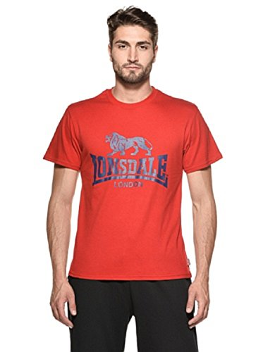 Lonsdale Logo - T-Shirt Sportswear - Homme, Rouge (dunkelrot), X-Large (Taille fabricant: XL)