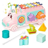 UNIH Baby Toy 12-18 Months, Music Bus Xylophone for Kids Toy, Baby Toys for 1 Year Old Boys and Girls with Building Blocks, Musical Toys for Toddlers 1-3, Early Educational Toys for Toddlers Gift
