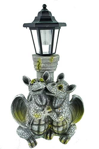 Kremers Schatzkiste Drachenkind verliebt mit Solar Laterne 40 cm Drache Figur Gartenfigur