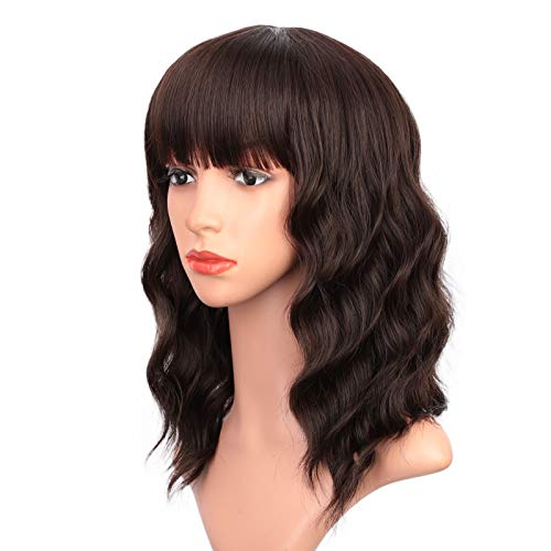 ENTRANCED STYLES Short Dark Brown Wigs for Women Wavy Bob Wig with Bangs Women's Shoulder Length Synthetic Curly Pastel Bob Wig for Girl Colorful Cosplay Wigs