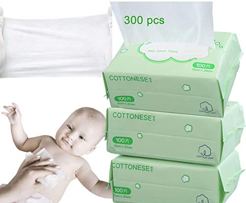Baby Child Dry Wipe Soft Dry Cotton Wipes 3 Packs 300 Count,Disposable Cleansing Cloths,Great for Sensitive Skin and can be used as Baby Washcloths, Incontinence Wipes, Makeup Wipes
