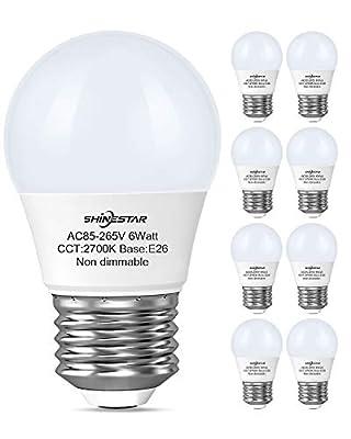 8-Pack 60 watt Equivalent A15 LED Ceiling Fan Bulbs, Warm White 2700K, E26 Base Small Light Bulbs for Bathroom Vanity Fixtures, Kitchen Lighting, Non-dimmable