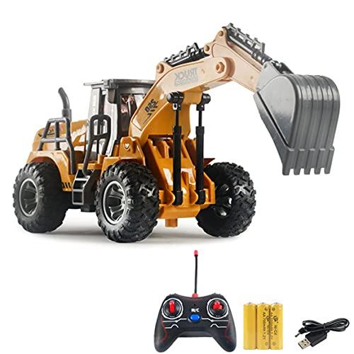 Vehículo de Control Remoto inalámbrico eléctrico Juguete de Carga USB Vehículo de ingeniería Regalo de cumpleaños Buena Mano de Obra - Amarillo + Gris + Negro Vehículo de excavación